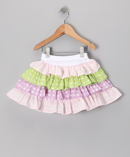Baby Pink Polka Dot Tiered Skirt - Infant, Toddler & Girls