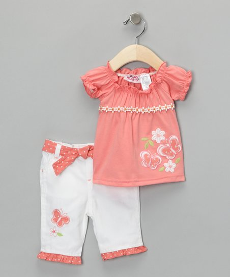 Orange & White Butterfly Tunic & Pants - Girls