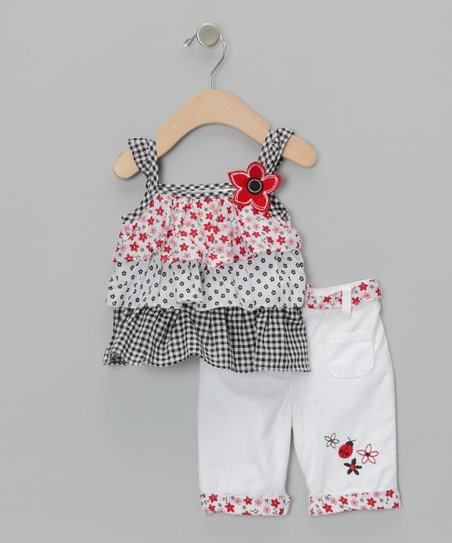 Black Polka Dot Tiered Top &amp; Pants - Infant