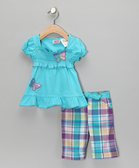 Turquoise Peasant Top & Plaid Pants - Toddler