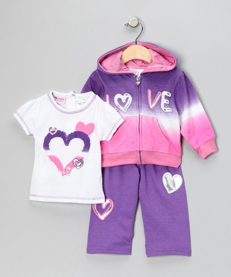 Grape 'Love' Zip-Up Hoodie Set - Girls