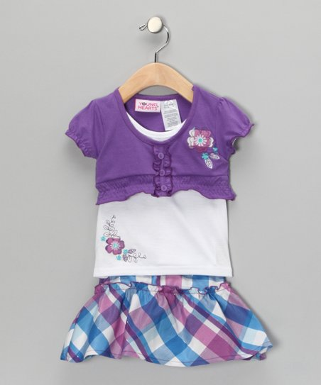 Lavender Plaid Layered Top & Skirt - Infant
