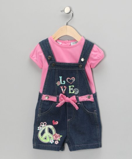Pink 'Love' Tee & Shortalls - Infant