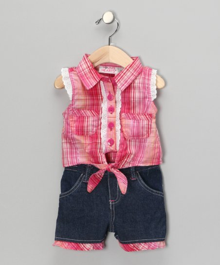 Pink Plaid Tank & Shorts - Infant & Toddler
