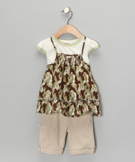 Green Camo Layered Swing Top & Pants - Toddler & Girls