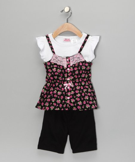Pink Flower Layered Top & Pants - Toddler & Girls