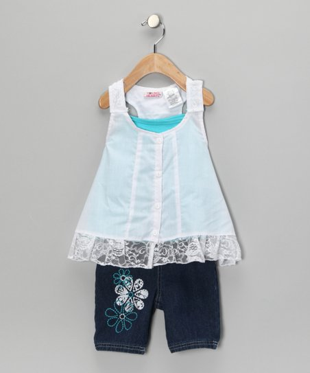 White Flower Shorts Set - Toddler & Girls