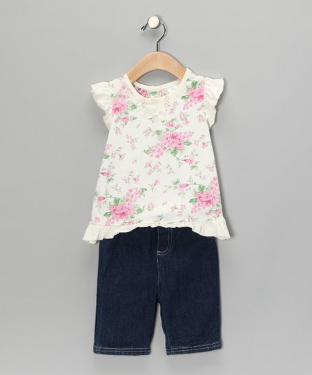 Pink Flower Angel-Sleeve Top & Jeans - Toddler & Girls