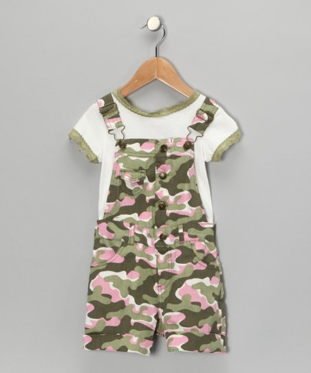 Green Camo Tee & Shortalls - Toddler & Girls