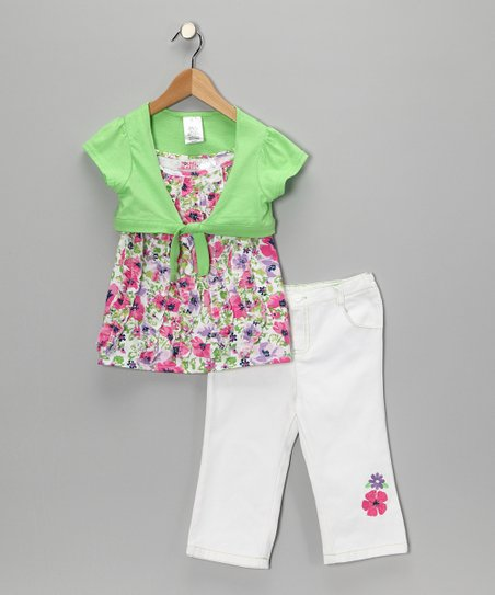 Pink Flower Shrug Set - Girls