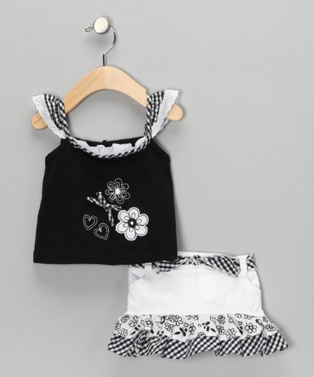 Black Gingham Top & Skirt - Infant