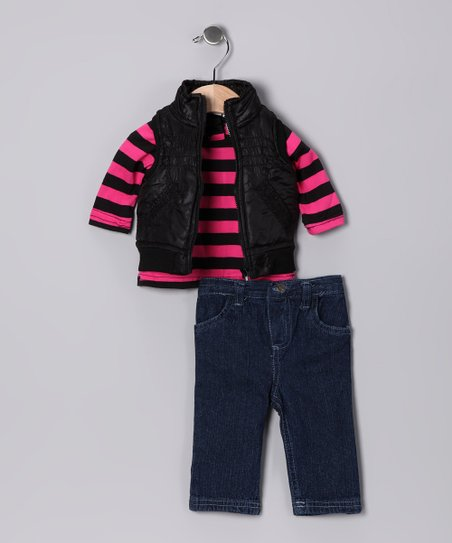 Black & Pink Stripe Vest Set - Infant & Toddler