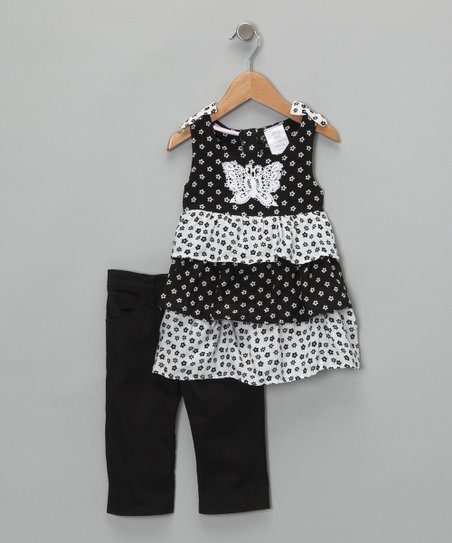 Black Polka Dot Tiered Tunic & Pants - Infant