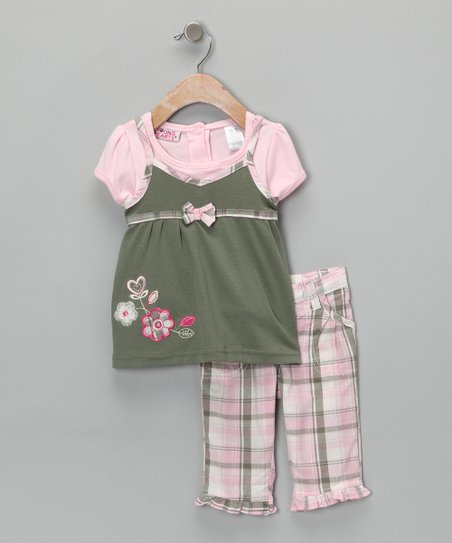 Pink Plaid Flower Top & Pants - Toddler & Girls
