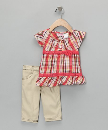Orange Plaid Tunic & Pants - Toddler