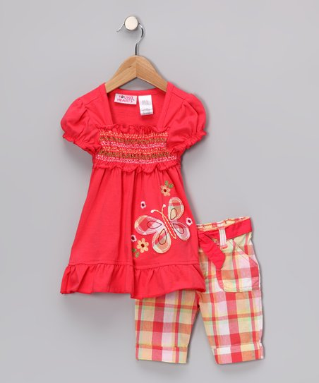 Red Butterfly Shirred Tunic & Plaid Shorts - Girls