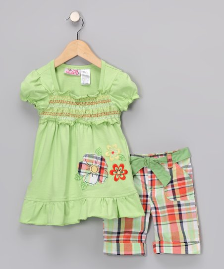 Mint Floral Shirred Tunic &amp; Plaid Shorts - Girls