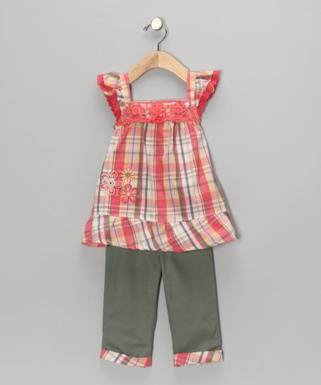 Orange Plaid Swing Tunic & Pants - Girls
