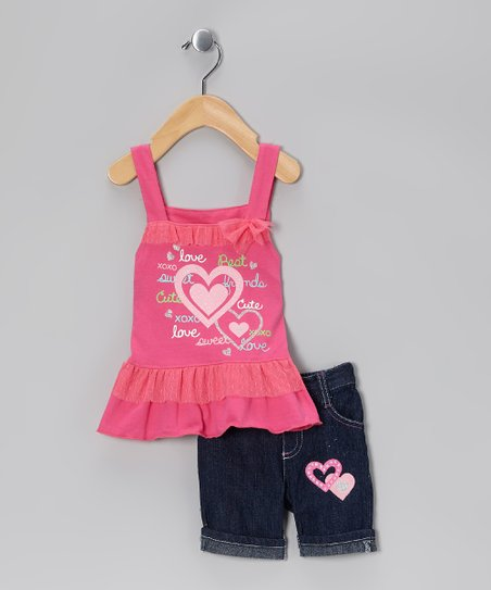 Pink &#039;Love&#039; Ruffle Tank &amp; Denim Shorts - Infant &amp; Girls