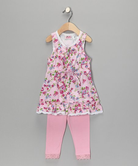 Pink Flower Lace Tunic &amp; Leggings - Infant &amp; Toddler