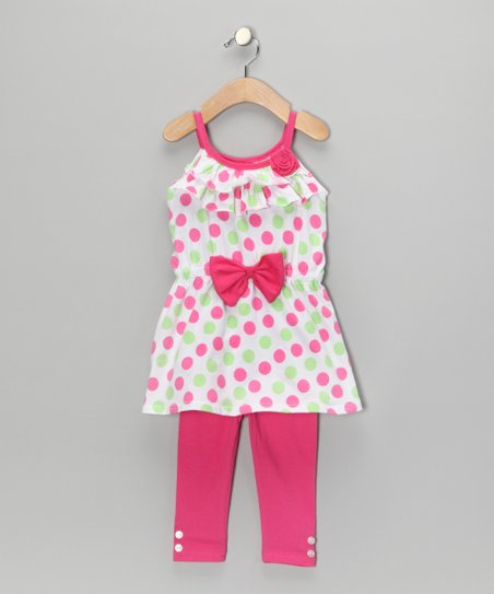 Pink Polka Dot Tunic & Leggings - Toddler