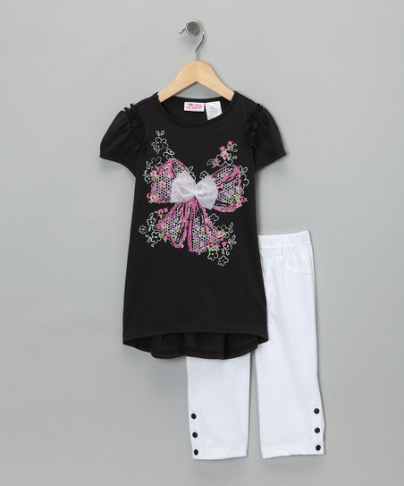 Black Tulle Bow Tunic & Leggings - Infant & Toddler
