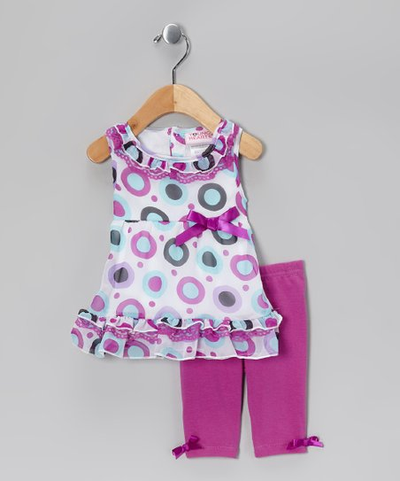 Purple Polka Dot Ruffle Tunic & Leggings - Infant