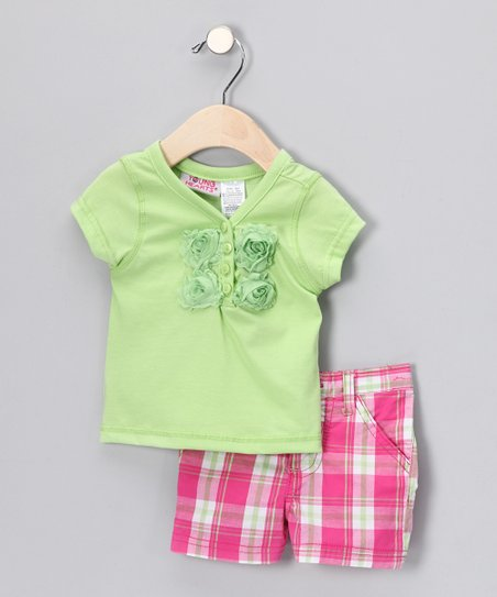 Green Rose Henley & Pink Plaid Shorts - Infant & Toddler