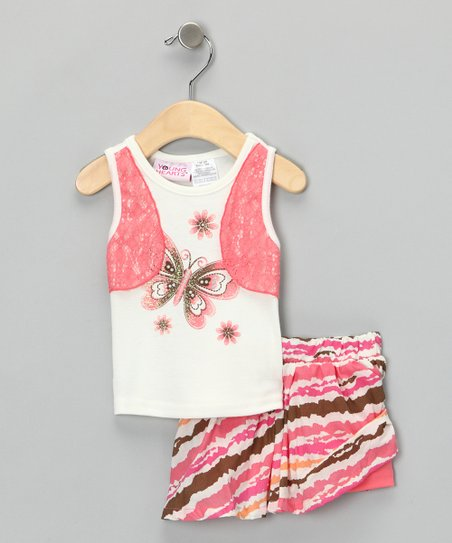 Orange & White Butterfly Layered Tank & Skirt - Toddler & Girls