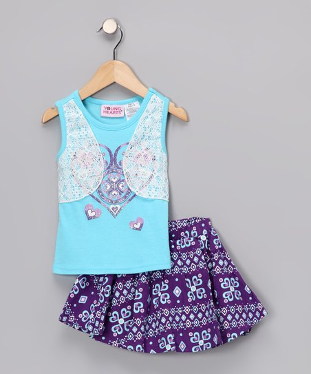 Blue Layered Tank & Purple Skirt - Infant, Toddler & Girls