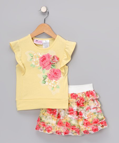 Yellow Flower Angel-Sleeve Top & Skirt - Infant