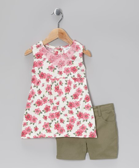 Pink Floral Tunic &amp; Olive Green Shorts - Infant &amp; Toddler