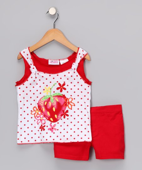 Red Strawberry Polka Dot Tank & Shorts - Infant
