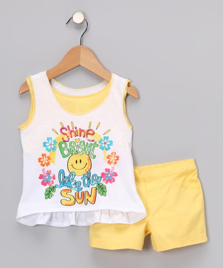 Yellow 'Shine Bright Like the Sun' Tank & Shorts - Infant