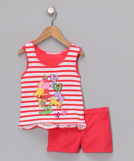 Red Stripe 'Yummy' Tank & Shorts - Infant & Girls