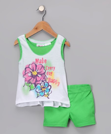Green & White 'Every Day Happy' Tank & Shorts - Infant & Girls