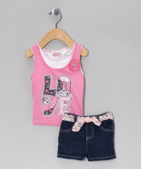 Pink &#039;Love&#039; Tank &amp; Black Shorts - Infant