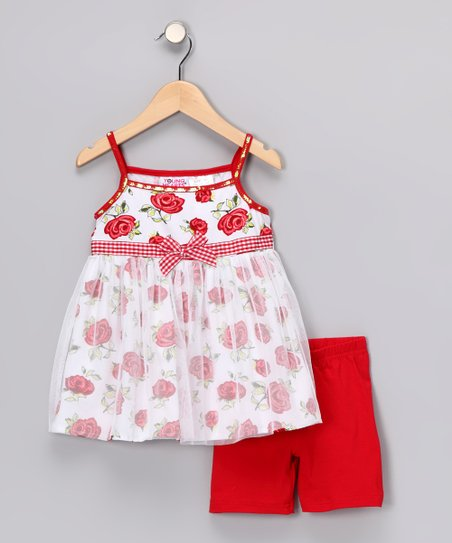 Red &amp; White Rose Tunic &amp; Shorts - Infant