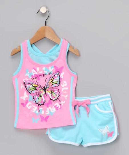 Pink & Aqua Butterfly Tank & Shorts - Infant