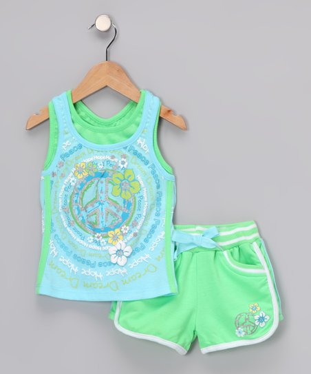 Green Swirl Vintage Tank & Shorts - Infant & Girls