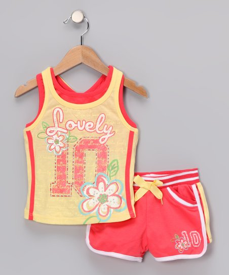 Yellow 'Lovely' Vintage Tank & Shorts - Infant