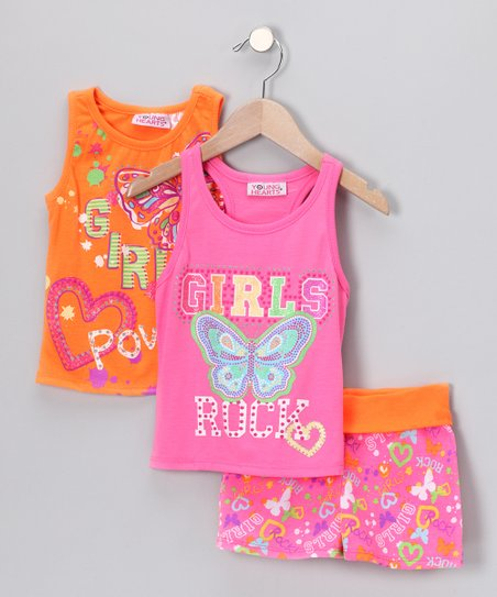 Orange 'Girl Power' Shorts Set - Infant