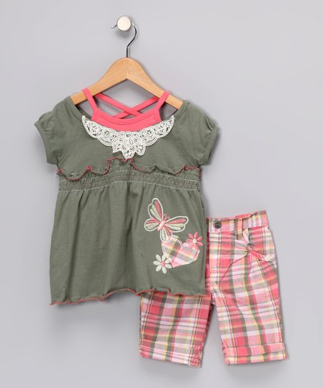 Gray & Pink Tunic & Shorts - Toddler & Girls