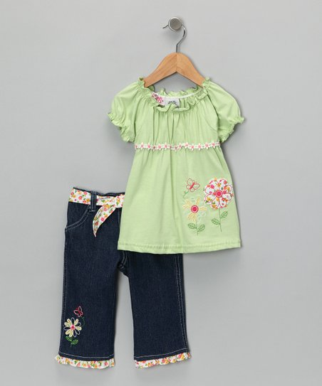Lime Green Cap-Sleeve Top & Pants - Infant