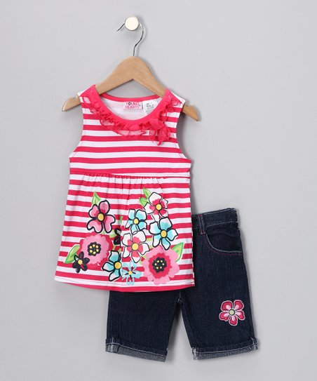Fuchsia Stripe Floral Top & Denim Shorts - Toddler