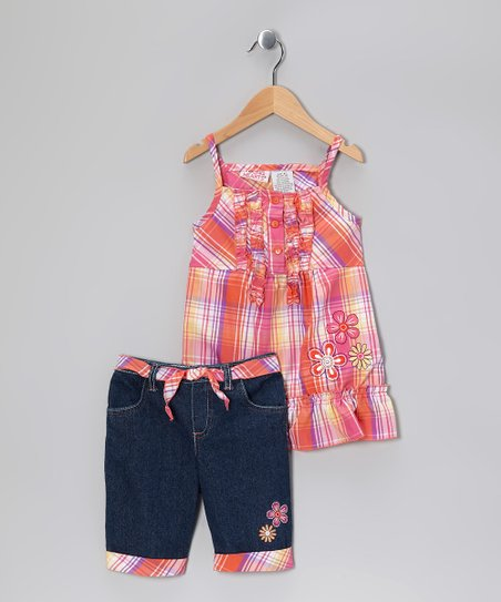 Orange Plaid Ruffle Tunic & Denim Shorts - Toddler & Girls