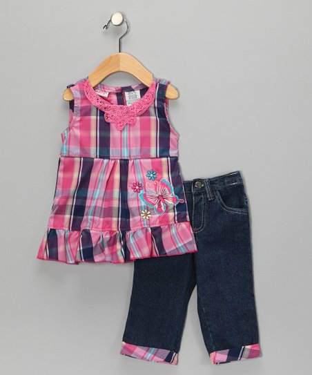 Pink Plaid Butterfly Swing Top & Jeans - Girls