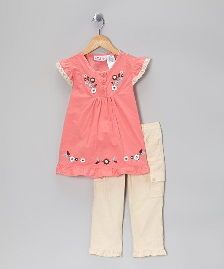 Orange Floral Angel-Sleeve Top & Khaki Cargo Pants - Girls