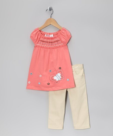 Pink Butterfly Shirred Top & Khaki Pants - Girls