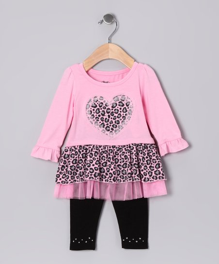 Pink Heart Cheetah Tunic & Leggings - Infant & Girls